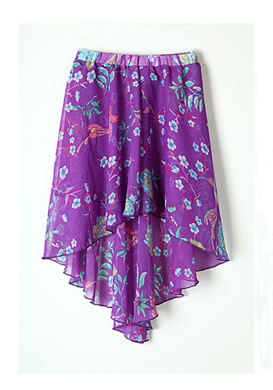 multicolor floral animial print high low chiffon skirt