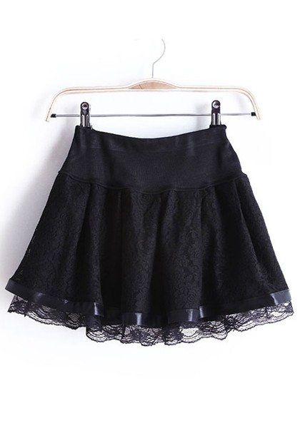 Black Flowers Elastic Mid Waist Short Lace Skirt - Skirts - Bottoms