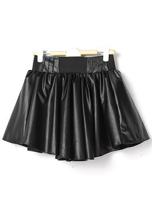 Black Zipper High Waist PU Leather Skirt - Skirts - Bottoms