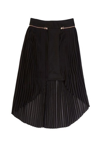 Black Irregular Pleated Zipper Mid Waist Chiffon Skirt - Skirts ...