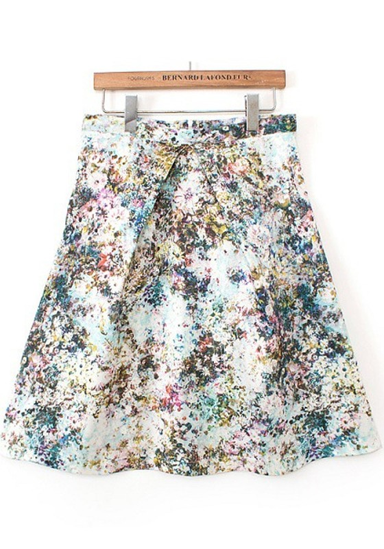 blue floral print pleated high waisted skirt skirts
