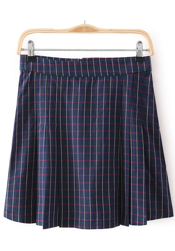 Navy Blue Plaid Print Pleated High Waisted Skirt - Skirts - Bottoms