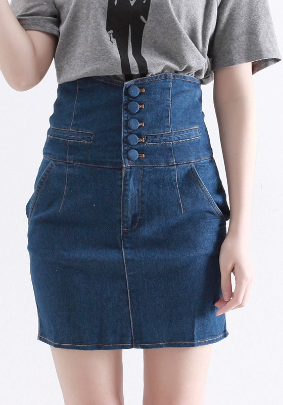 high waisted denim skirt with buttons redskirtz