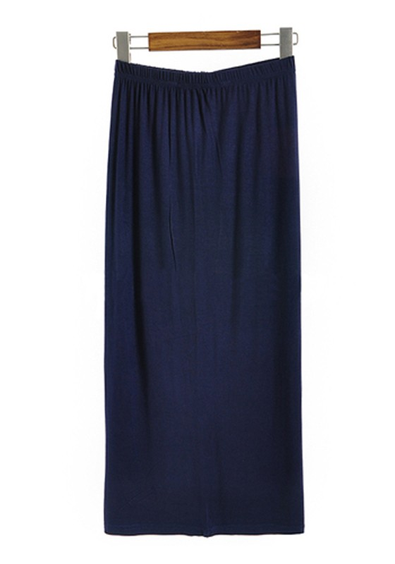 Navy Blue Elastic Waist Long Straight Cotton Skirt ...