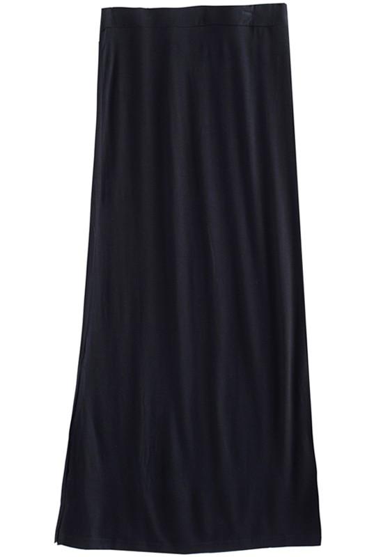 Black Split Elastic Waist Long Cotton Skirt - Skirts - Bottoms