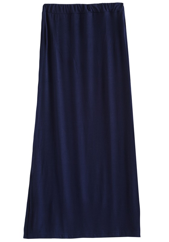 Navy Blue Split Elastic Waist Long Cotton Skirt - Skirts - Bottoms
