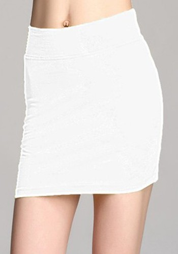 White Elastic High Waist Bodycon Short Cotton Skirt - Skirts - Bottoms