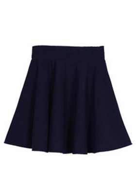 Navy Blue Ruffles High Elastic Waist Cotton Blend Skirt - Skirts ...