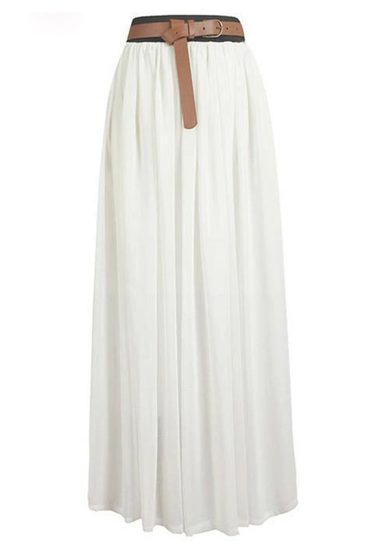 White High Waist Floor Length Loose Chiffon Skirt - Skirts - Bottoms