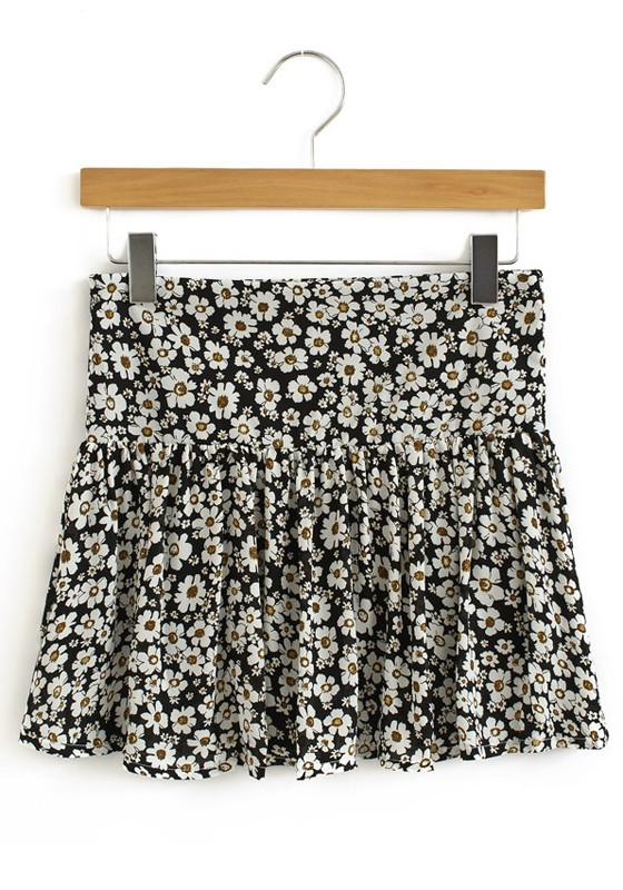 Black Floral High Waist Above Knee Chiffon Skirt - Skirts - Bottoms