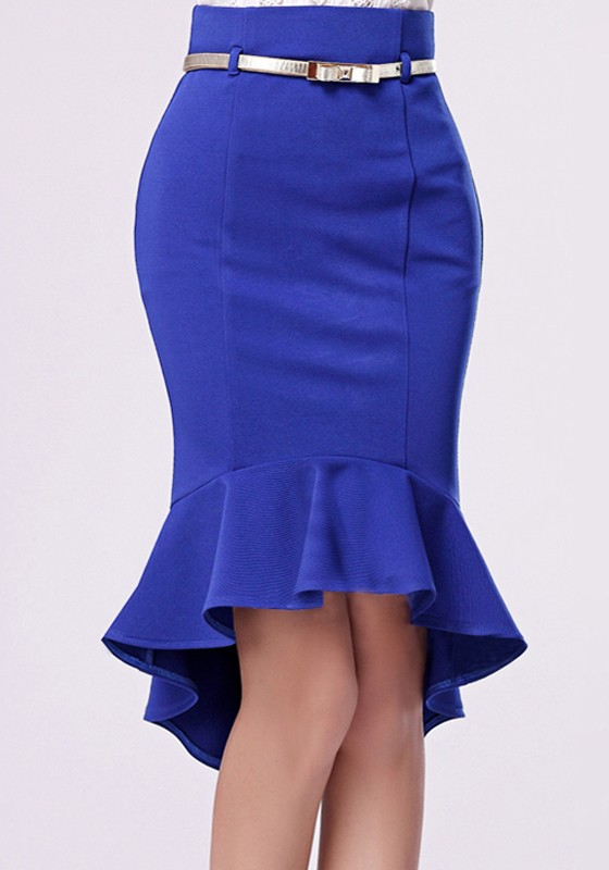 sapphire blue plain sewing high waist skirt skirts bottoms