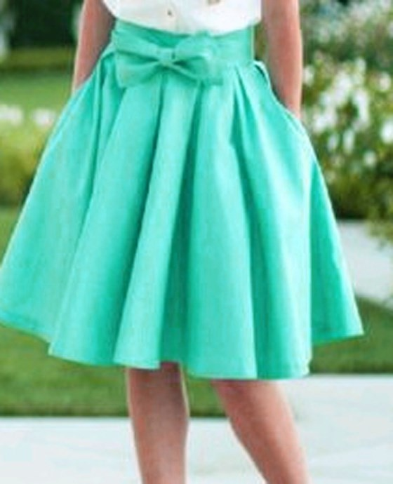 Blue Swing Bow Pleated Pockets High Waist Below Knee Vintage A ...
