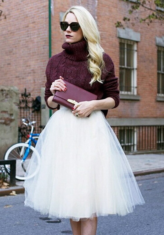 11b577c8dda ... Plus Size Fashion Tulle Midi Skirt. White Plain Grenadine Sweet Below  Knee Skirt