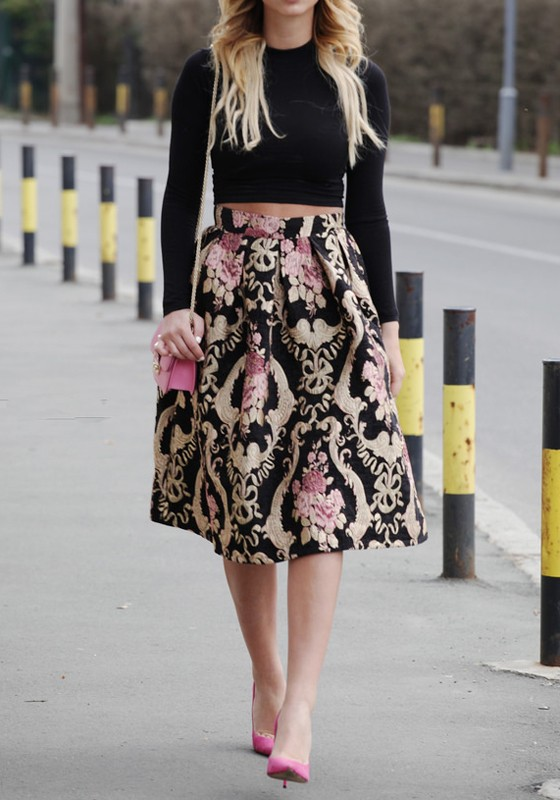 Black Floral A-Line Vintage Flower Pleated Party High Waisted ...