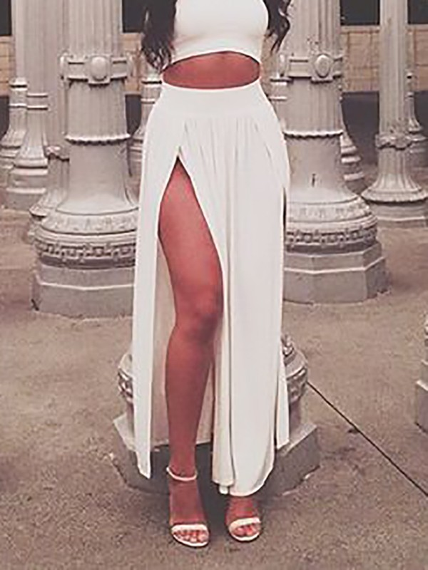 ffba4cdf5dc1d3 All White Irregular Double Slit Floor Length Sexy Fashion Beach Maxi Skirt