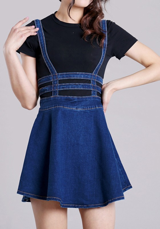 Blue Plain High Waisted Zipper Skater Straps Casual Caged ...