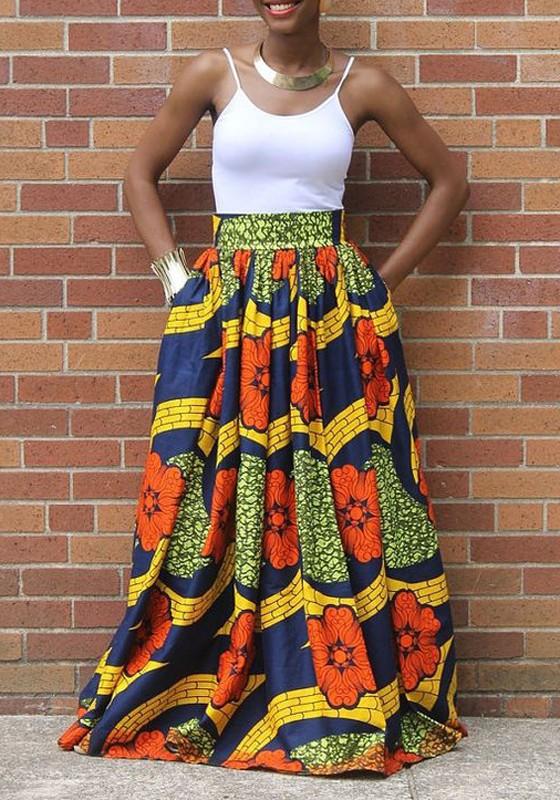 2eb9679e11f5b7 Jupe longue en wax plissée taille haute vintage multicolore femme