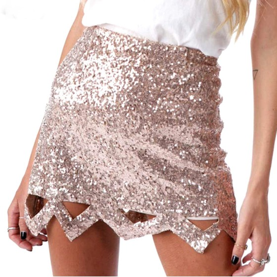 e98ca49c1069 Rose Gold Sparkly Sequin Wavy Edge Cut Out High Waisted Mini Skirt ...