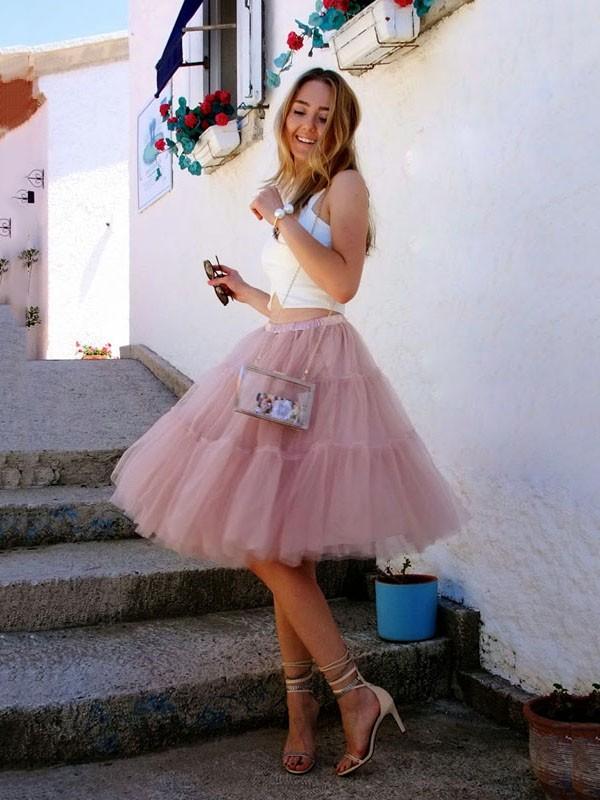 c5cbeff9bf7cf3 Pink Plain Grenadine High Waisted Layers Of Cute Puffy Tulle Tutu Skirt