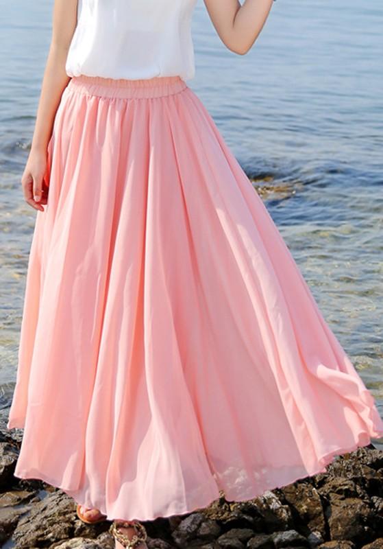 8d2467f3ddf3 Jupe longue plissé taille élastique mousseline bohemian de plage femme rose
