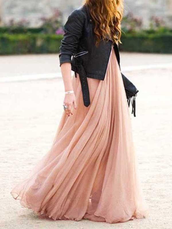 33c4cc7a4e94f Nude Pink Grenadine Pleated High Waisted Fluffy Puffy Tulle Bohemian Flowy Maxi  Skirt
