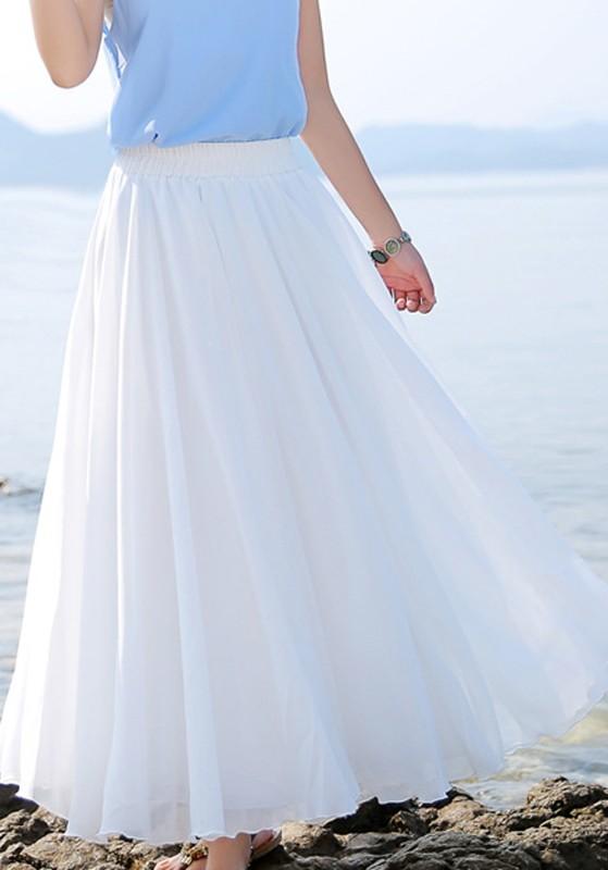 Jupe femme blanc de élastique plissé mousseline longue plage taille 61q64U