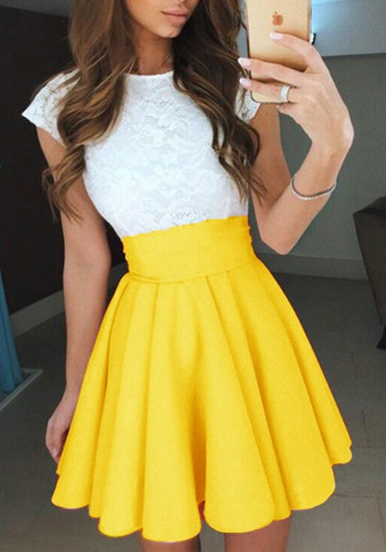307135d070 Yellow Ruffle Pleated Comfy Elastic Waist High Waisted Fashion Skirt -  Skirts - Bottoms