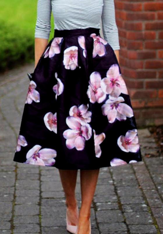 eb13edd099734a Mi-longue jupe imprimé à fleurs trapèze élégant femme noir
