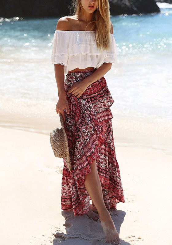 3a77c531c0 Red Boho Flowers Splicing Irregular Flowy Boutique Holiday Beach Sundress  High Waisted Skirt - Skirts - Bottoms
