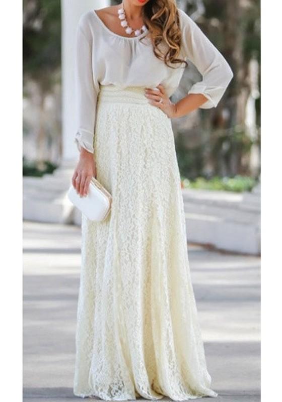 843a535b706e20 Jupe longue en dentelle drapé taille élastique haute femme mode blanc cassé