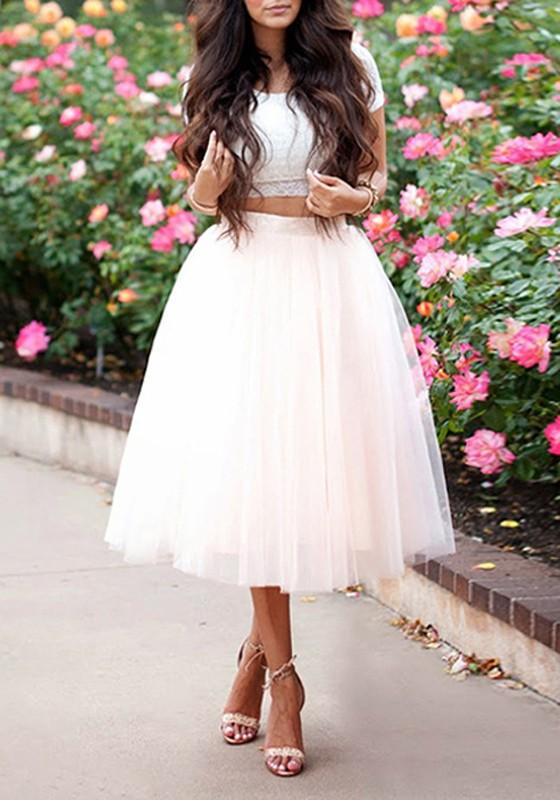 19a92a8e28e062 Jupe mi-longue tutu en tulle taille haute mode femme blanc
