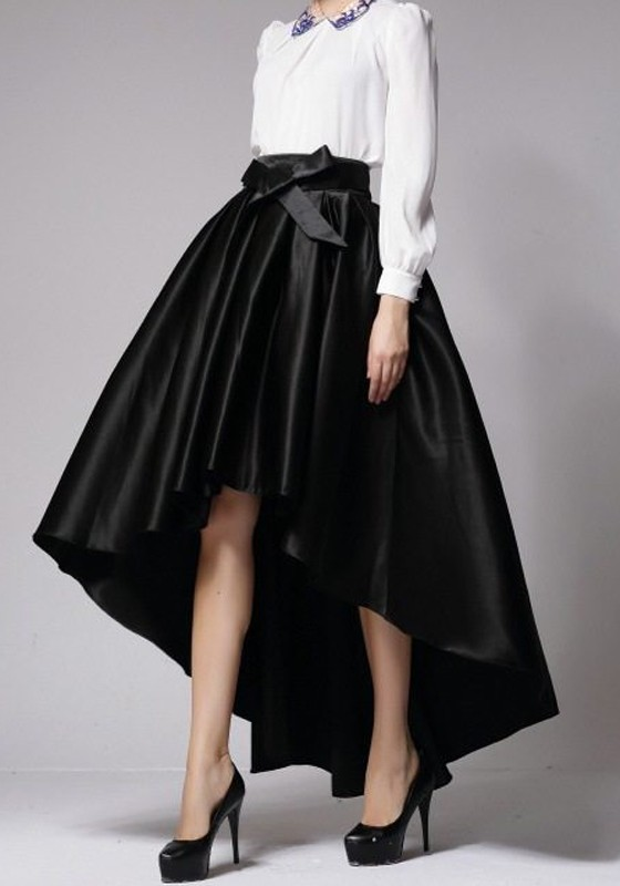 black pleated sashes bow swallowtail high low high waisted