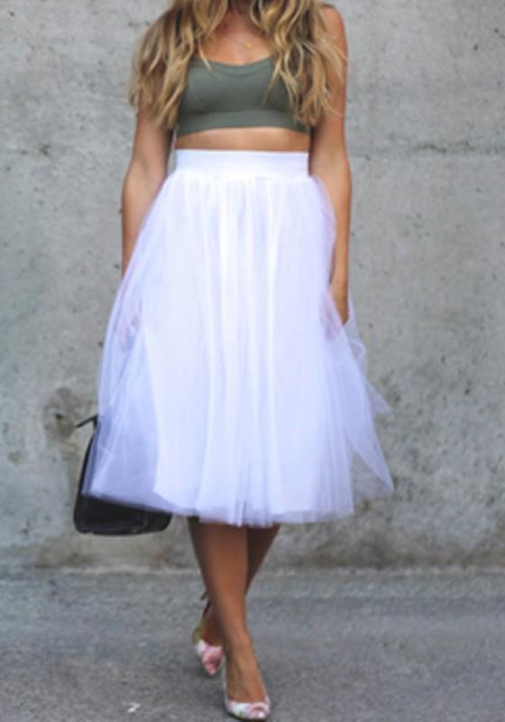 e913f5fc9853 Mi-longue jupe plissé taille élastique tutu tulle élégant femme blanc