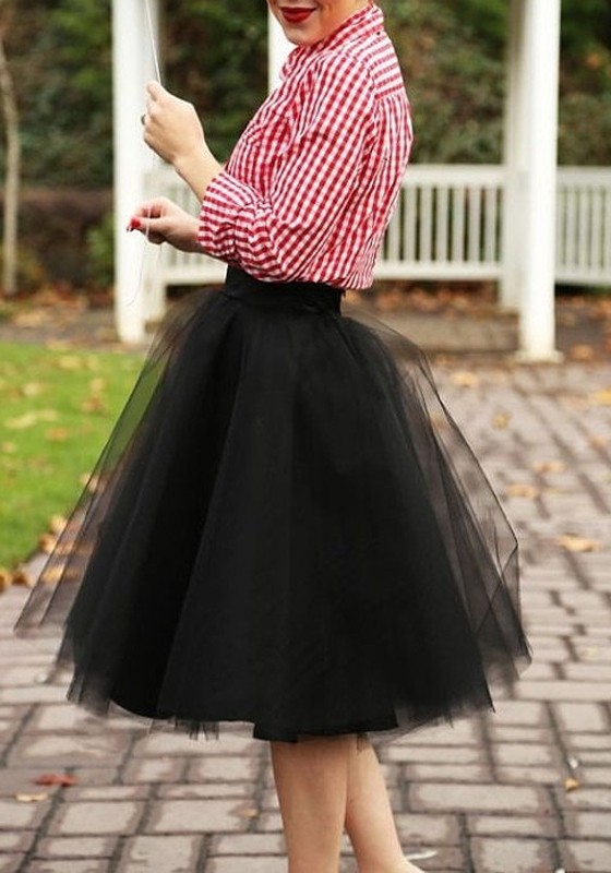 e6e84a69e Black Grenadine Pleated Fluffy Puffy Tulle High Waisted Homecoming Party  Adorable Tutu Skirt - Skirts - Bottoms