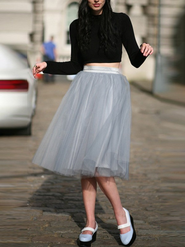 35df363ed Grey Grenadine High Waisted Plus Size Fluffy Puffy Tulle Tutu Party Midi  Skirt - Skirts - Bottoms