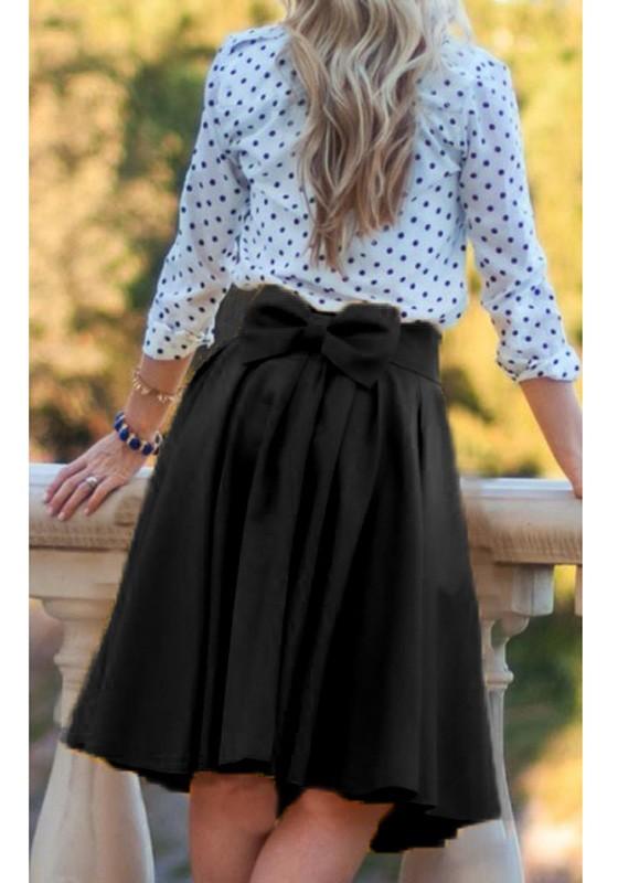 60539539f854 Mi-longue jupe évasée plissé avec noeud papillon femme élégant noir ...