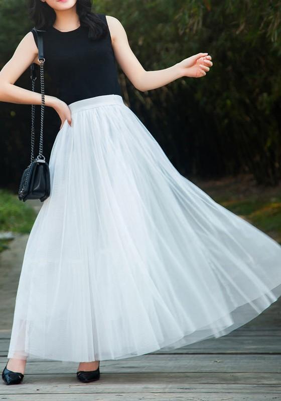 444988eb7678 Jupe longue plissé taille élastique tulle mode femme blanc - Jupes - Bas