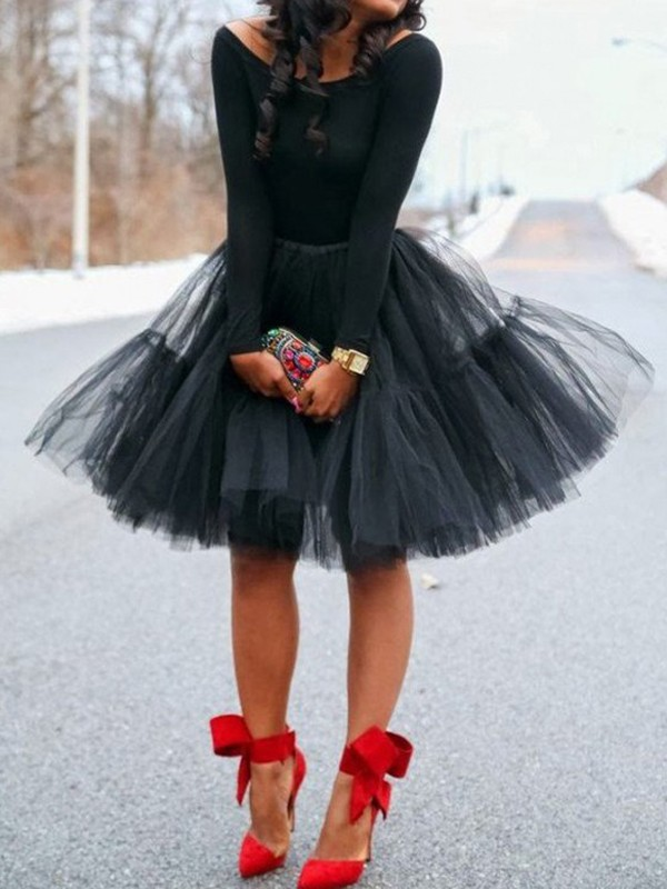 b68ec4d84cc9d8 Black Grenadine Pleated Fluffy Puffy High Waisted Tutu Skater Homecoming  Cute Midi Skirt - Skirts - Bottoms