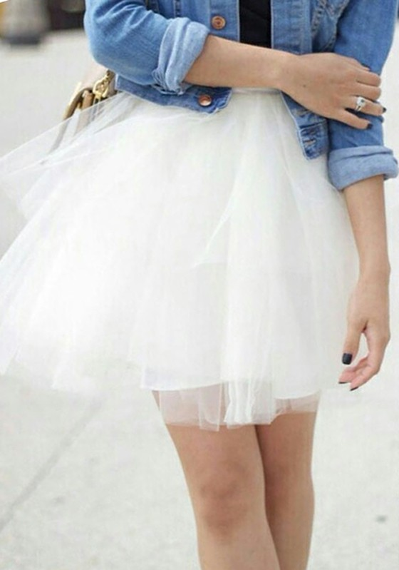 3672c023e White Patchwork Grenadine Pleated Plus Size Fluffy Puffy Tulle Cute Skirt -  Skirts - Bottoms