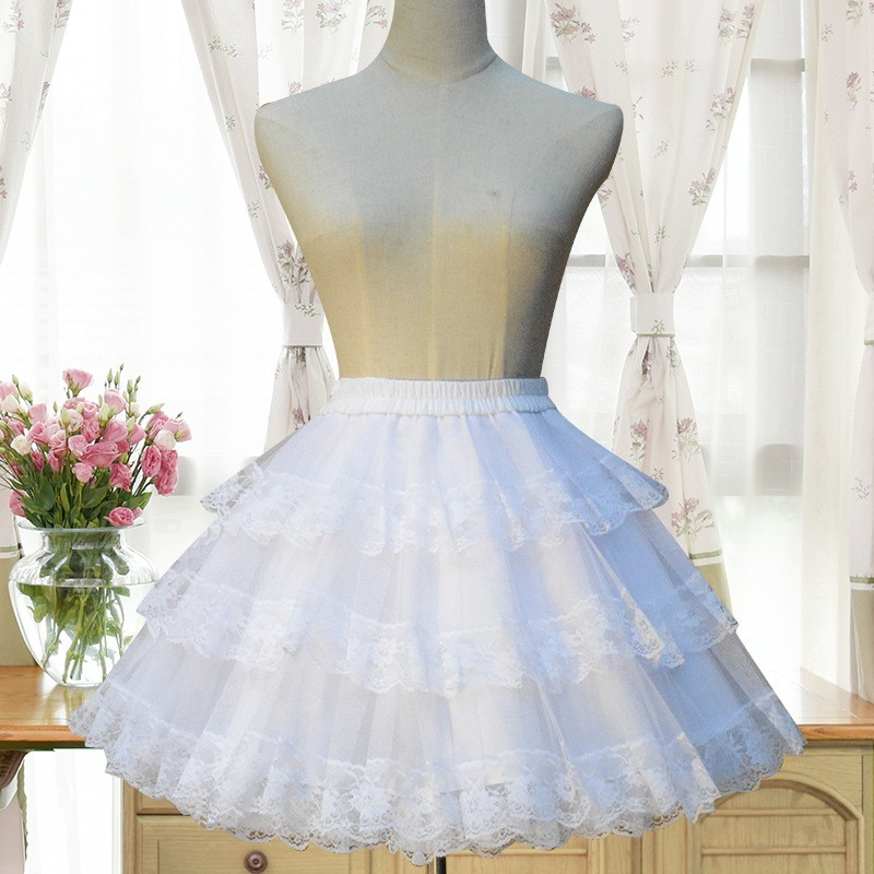 f42e181c0 White Pleated Lace Grenadine Fluffy Puffy Tulle Sweet Skirt - Skirts -  Bottoms