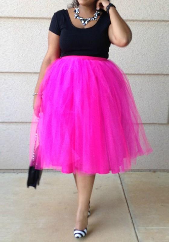 Rose Carmine Pleated Grenadine Puffy Tulle Plus Size Tutu High Waisted  Party Skirt