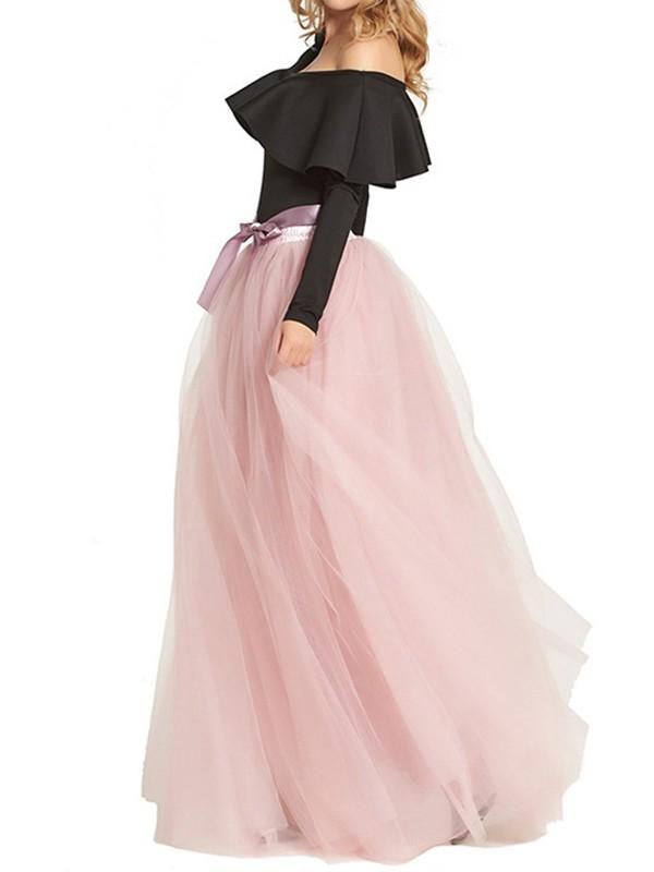 844d8e28131aae Rosa Bänder Schleife Drapiert Hohe Taille Puffy Elegant Party Maxirock Tüllrock  Damen Mode