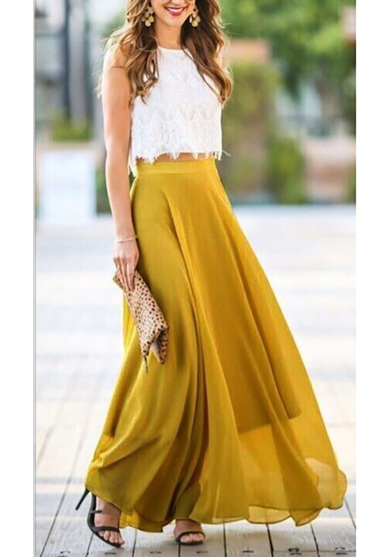 8803454785 Yellow Patchwork Lace Draped Elastic Waist Ladies Elegant Long Skirt -  Skirts - Bottoms
