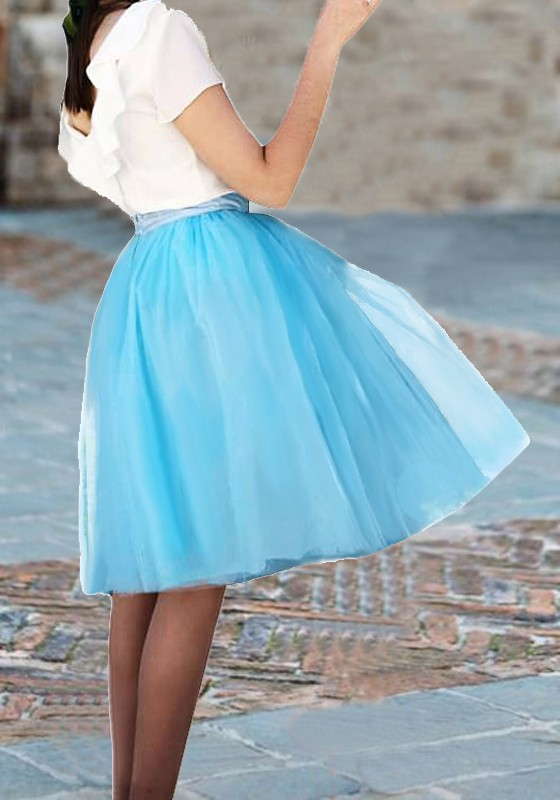 4df838f6a Light Blue Grenadine Draped Fluffy Puffy Tulle Tutu Homecoming Party Sweet  Skirt - Skirts - Bottoms