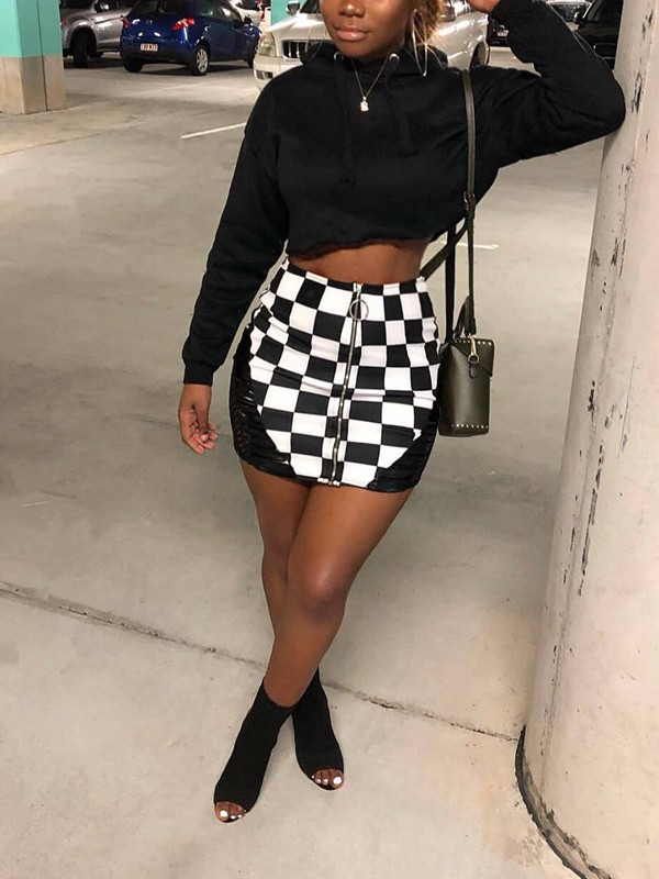 939983e5ad White Plaid Fishnet Zipper High Waisted Bodycon Casual Party Skirt - Skirts  - Bottoms