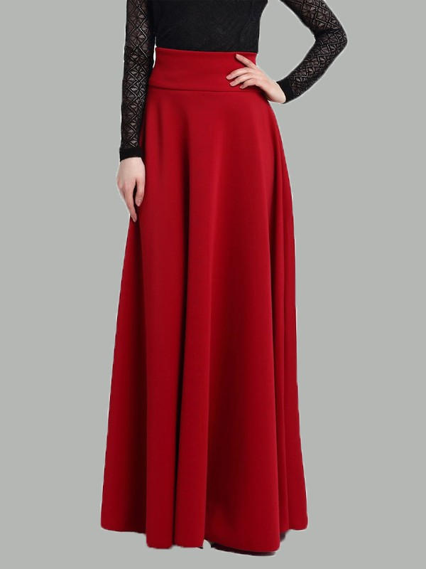 b6b4ef90726cd Rot Drapiert Elastische Taille High Waisted Elegantees Maxirock Abendrock