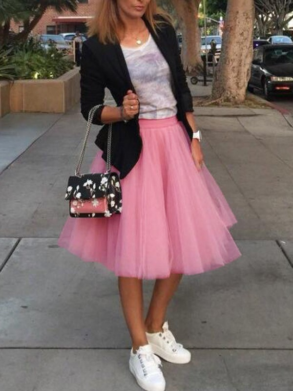 0d8605fd81 Pink Grenadine Pleated High Waisted Tulle Tutu Homecoming Party Cute Elegant  Midi Skirt