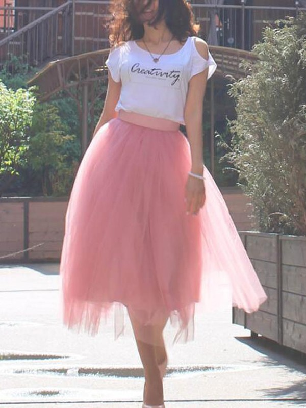 10d67e0a0e Pink Grenadine Pleated High Waisted Tulle Tutu Homecoming Party Elegant  Midi Skirt - Skirts - Bottoms