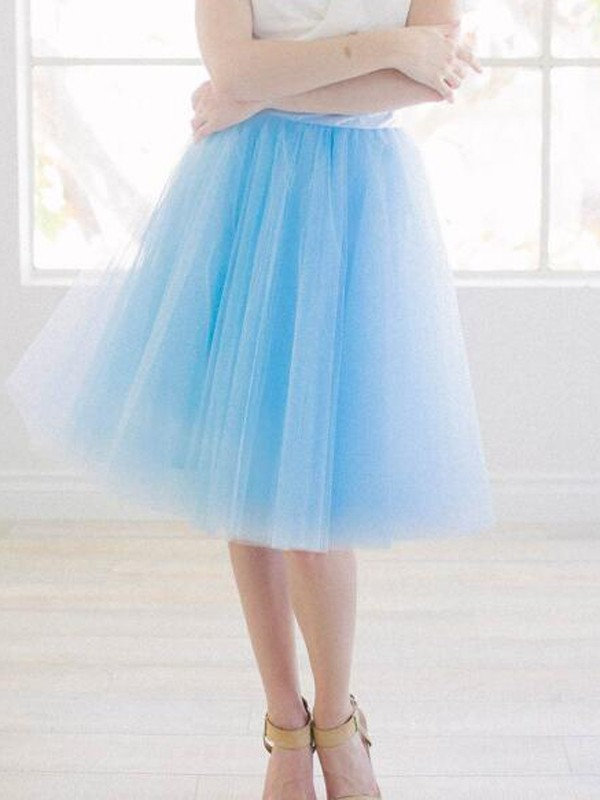 9c002edb4d3fdf Sky Blue Grenadine Pleated High Waisted Tulle Tutu Homecoming Party Cute  Elegant Skirt - Skirts - Bottoms