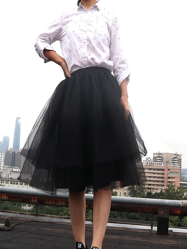 a0d044d9f56 Black Grenadine Pleated Plus Size Fluffy Puffy Tulle High Waisted  Homecoming Party Fashion Tutu Midi Skirt - Skirts - Bottoms